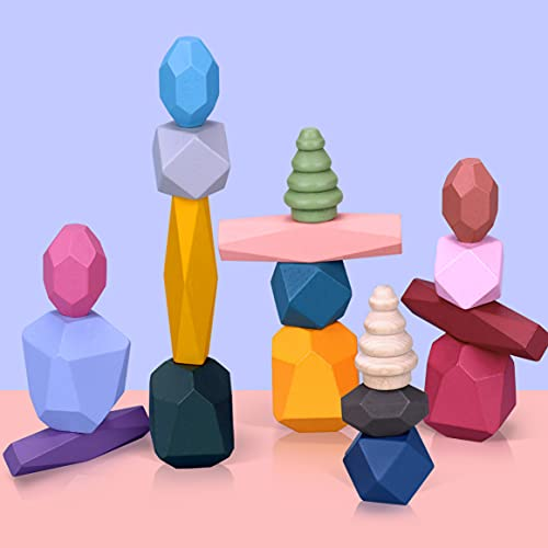 18pcs Holz Stapeln Spielzeug, Balancier Steine Farbiger Stein Puzzle Spielzeug für Kinder Montessori Holzspielzeug Stapelspiel, Bildung Holzbausteine Set