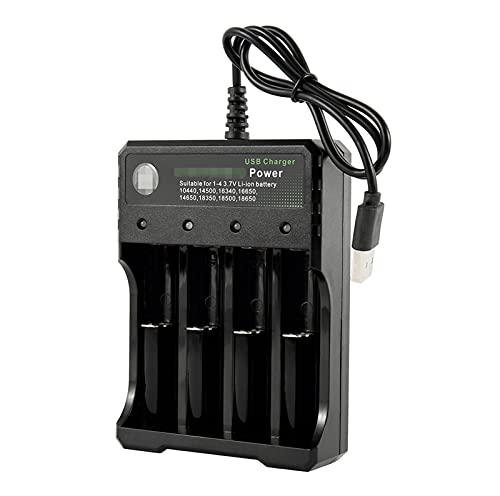 ZRNG USB 18650 Cargador de batería Negro 4 Slots AC 110V 220V Dual Ajuste para 18650 Carga 3.7V batería de Litio Recargable (Color : 4 Slot)
