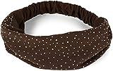 styleBREAKER Cinta para el pelo con brillantes y goma elástica para mujer, 04026016, marrón oscuro, Talla única