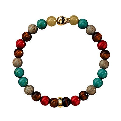 THOMAS SABO Damen-Armband 925 Silber teilvergoldet Türkis Mehrfarbig 15.5 cm - A1513-882-7-L15.5