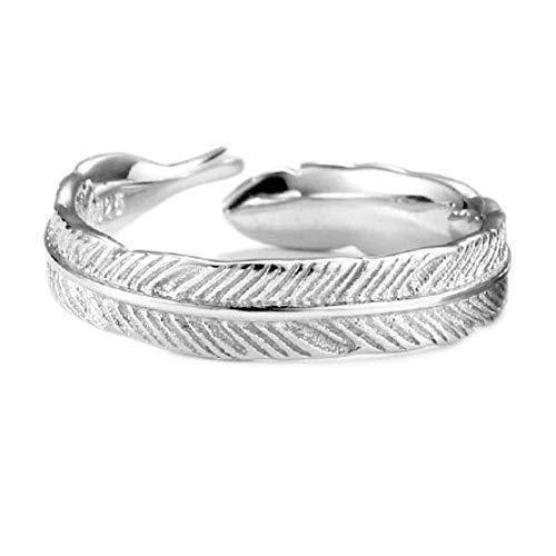 WRISTCHIE - Anello di fidanzamento con piume, con ciondolo a forma di ala d'angelo, anello regolabile da donna e placcato Argento, cod. Fring