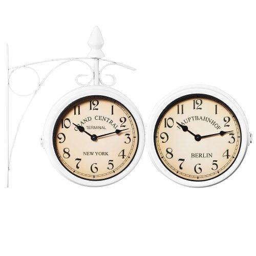 Deuba Reloj de Pared Estación de Tren Blanco Estilo Vintage Doble Esfera -...