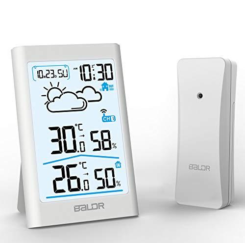 BETECK Wetterstation Funk mit Außensensor, Digital Thermo-Hygrometer für Innen und Außen, Wettervorhersage, Touchscreen, Weiße Hintergrundbeleuchtung, Uhrzeit Anzeige für Zuhause Büro Schlafzimmer