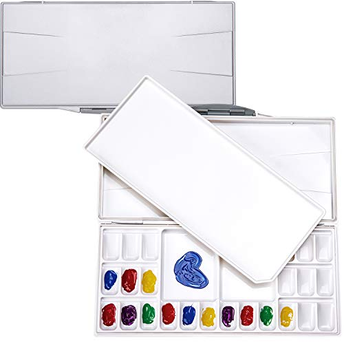MEEDEN Airtight Leak-proof Watercolor Palette - Peel-Off Palette Foldable Travel Paint Palette Box with 24-Well & 3 Mixing Areas for Watercolor, Gouache & Acrylic Paint, Silver Case