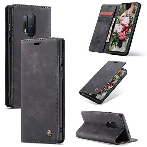 FMPC Handyhülle für Oneplus 8 Pro Premium Lederhülle PU Flip Magnet Hülle Wallet Klapphülle Silikon Bumper Schutzhülle für Oneplus 8 Pro Handytasche - Schwarz