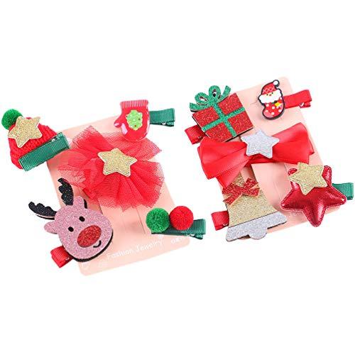 NUOBESTY - Pinzas para el Pelo de Navidad, 10 Piezas para Sombrero de Navidad, Accesorios de Pelo de Alce, Lazos,...