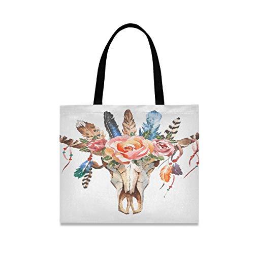 Große quadratische Kapazität kühle Leinwand Einkaufstasche Aquarell isoliert Bullen Kopf Blumen...