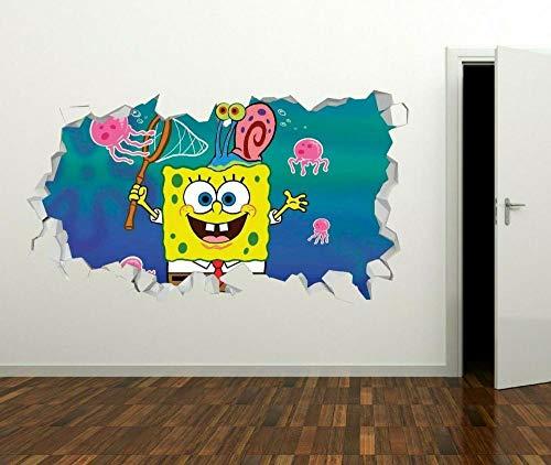 SpongeBob spielt Kinder Wandtattoo Dekoration 3D-Kunst zerschlagen Aufkleber Vinyl