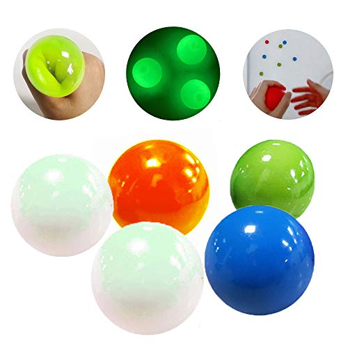 5 Pcs Luminescent Stress Relief Balls Sticky Balls, Decompression Toys Balls,Stick to The Wall and Slowly Fall Off,Fun Toys for Adults and Children, Non-Toxic