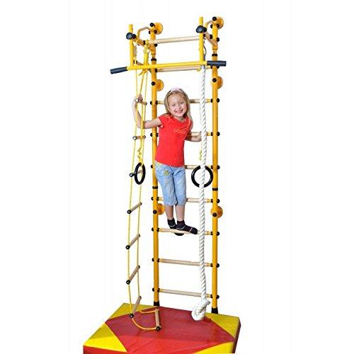 NiroSport FitTop M2 Indoor Klettergerüst für Kinder Sprossenwand für Kinderzimmer Turnwand Kletterwand, TÜV geprüft, kinderleichte Montage, max. Belastung bis ca. 130 kg, Made in Germany (Gelb, Raumhöhe 240 - 290 cm)