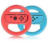Volante per controller Nintendo Switch, volante PowerLead 2 PC compatibile con Mario Kart, volante per controller di gioco per Nintendo Switch Remote Game (rosso e blu)