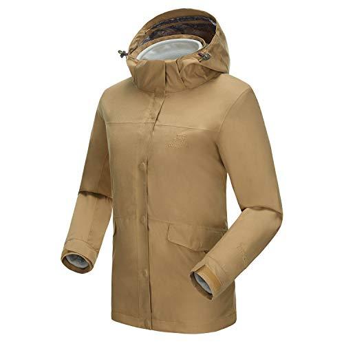 TFO Damen Outdoor-Jacken wasserdichte Atmungsaktive Funktionsjacken 3 in 1 Regenjacken mit Abnehmbarer innere Fleece-Jacke,Kahki,2XL
