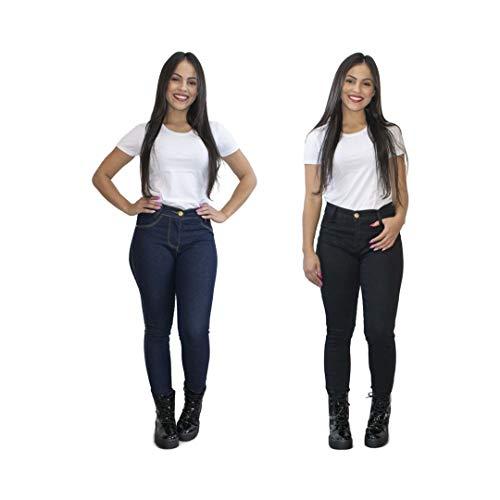 Kit 2 Calças Jeans Feminina Skinny Cós Alto Luma Ventura Azul Escuro e Preta (44)