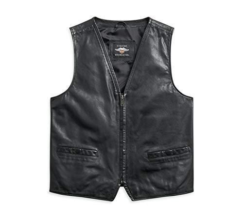 HARLEY-DAVIDSON Herren Lederweste Biker Lederkutte Motorrad Weste Männer Bikerweste Rocker Jacke aus Leder Leather Motor, XL