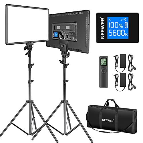 Neewer 18' Led Video Light Panel Lighting Kit with Remote, 2-Pack 45W Dimmable Bi-Color +Light...