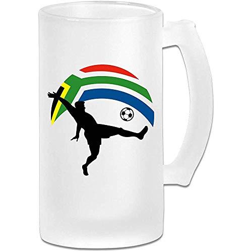 Voetballer en Zuid-Afrikaanse vlag Frosted Glass Stein Beer Mok, Pub Mok, Drank Mok, Gift voor Bier Drinker, 500Ml (16.9Oz)