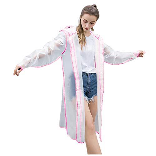 Transparenter wiederverwendbarer Regenmantel Plus Size Multicolor Stylish Durable Hooded (L,Rosa)