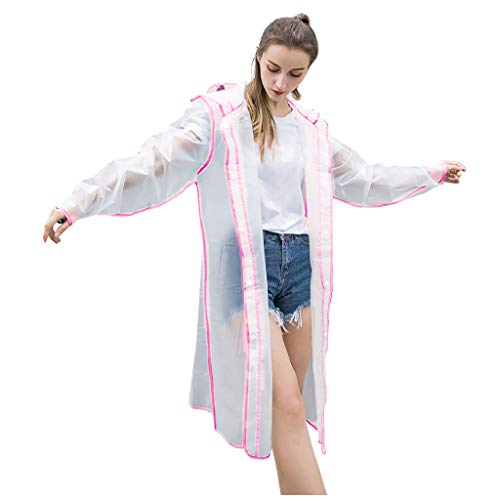 Transparenter wiederverwendbarer Regenmantel Plus Size Multicolor Stylish Durable Hooded (XXL,Rosa)