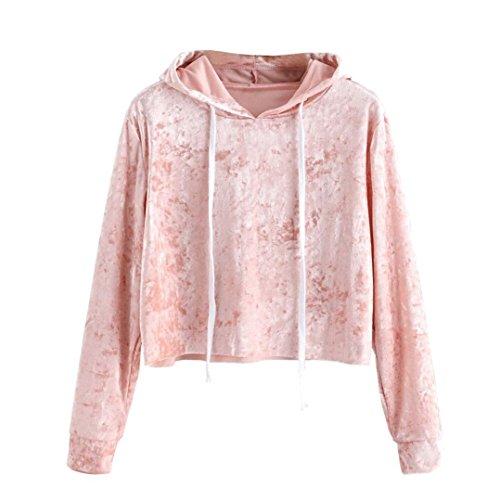 Women Blouse,IEason Womens Long Sleeve Hoodie Sweatshirt Jumper Hooded Pullover Tops Velvet Blouse (L, Pink)