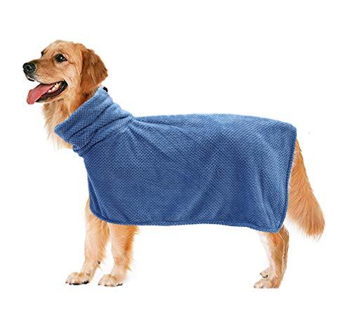 Geyecete ananas flanel hond badjas - hond badjas handdoek - snel drogen Super absorberende huisdier hond kat bad badjas handdoek vochtafvoerend bad badjas, snel drogen huisdier badhanddoek, M, Blauw