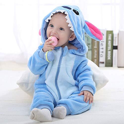 Einhorn Pyjama Jumpsuit Stich Kigurumi-Baby-Mädchen Kawaii Onesies 0-3T Kinder Zipper Pyjama Baby Kleidung Karikatur-Spielanzug Winterschlaf Anzug Outfit (Size : 12M)