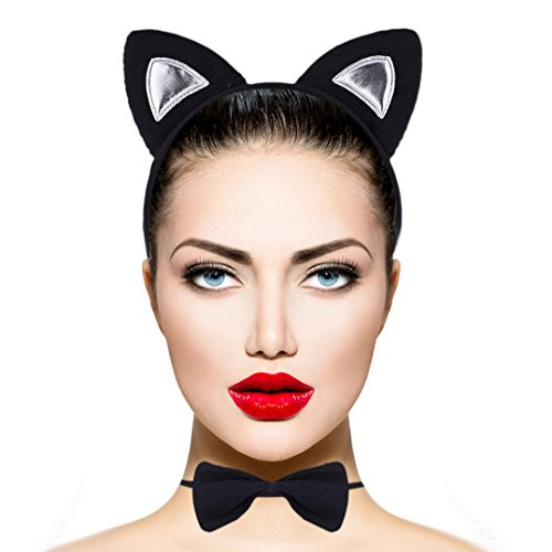 LUX ACCESSORIES Halloween Cat Kitty Cosplay Party Costume Black Furry Ears Bow Tie Tail (3pcs)