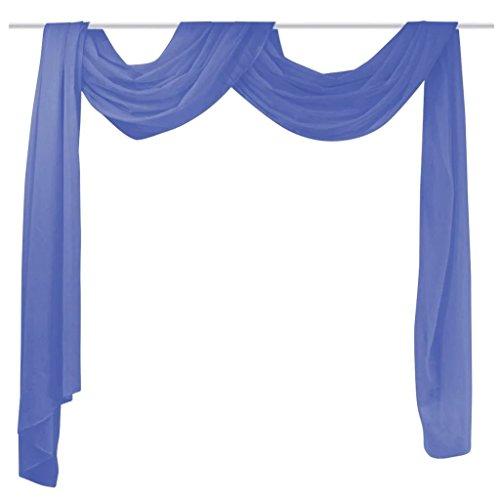vidaXL Cortinas Gasa/Tul 2 Piezas 140x600cm Azul Real Cenefa Decoración Hogar