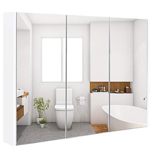 GOPLUS Spiegelschrank 3 Türig, Badezimmerschrank aus Holz, Hängeschrank Badezimmer, Wandschrank mit Spiegel, Badezimmerspiegelschrank Weiß