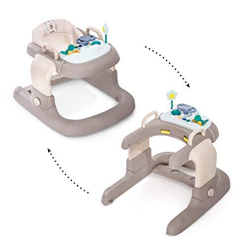 Hauck 2in1 Walker - tacatá y andandor, apto para 6 meses hasta 12 kg, juego de mesa multifuncional con ruedas, juegos y asiento desmontables, con luces, regulable en altura, Friend (beige-marron)