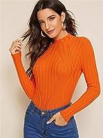 ネオンピンクのVネックリブニットセーター Jskdzfy (Color : Orange;Bright, Size : The)