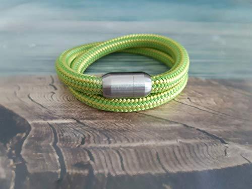 Handmade, Damen, Herren, Armband Edelstahl- Segelseil, Seil Wickel Armband Hell Grün/Gelb, Größe frei wählbar