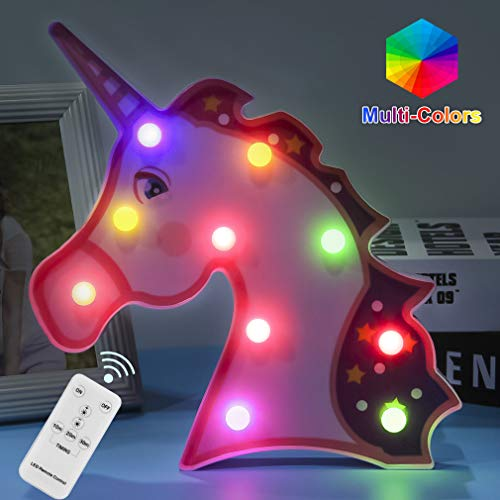 Unicorn Gifts Night Lights Remote Control LED Lamps Decor Supplies for 5 6 7 8 9 10 11 12 13 Years Old Girls Christmas Birthday(Purple Unicorn)