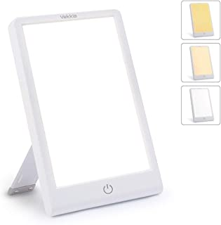 Light Therapy Happy Sun Lamp- 3 Color ×Adjustable Stepless Brightness, Sad Light with Timer Function, 10000 Lux Happy Light with Touch Control, Standing Bracket & Compact Size for Office/Sleep.