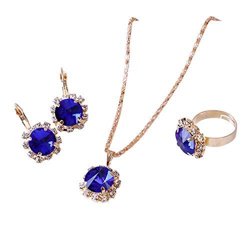 XIANGAI Rhinestone Earrings Circle Necklace Ring Pendants Women Jewelry Set,Colour:Lake Blue (Color : Sapphire Blue)