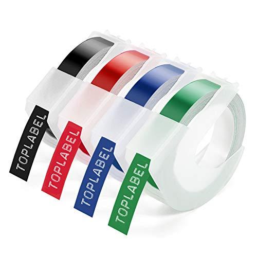 Unistar -3D Etiquetas Compatible para usar en lugar de Dymo Embossing Impresora, 3D Cinta Blanco sobre Negro de estampación for Dymo Omega Junior Motex E101 E303 Estampadora