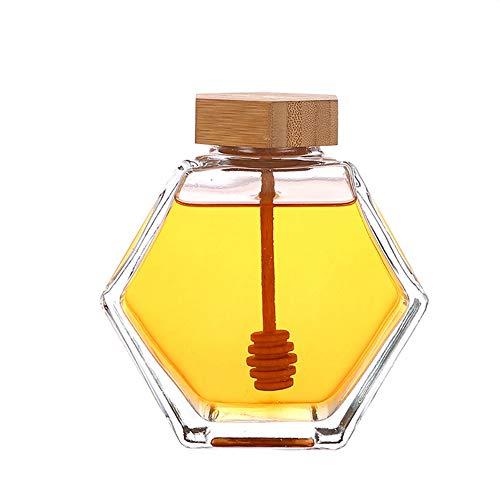 1 tarro de miel de 380ml/13onzas transparente de vidrio grueso con forma hexagonal recipiente de miel con tapa de madera y corcho vacío dispensador contenedor de almacenamiento de alimentos pa