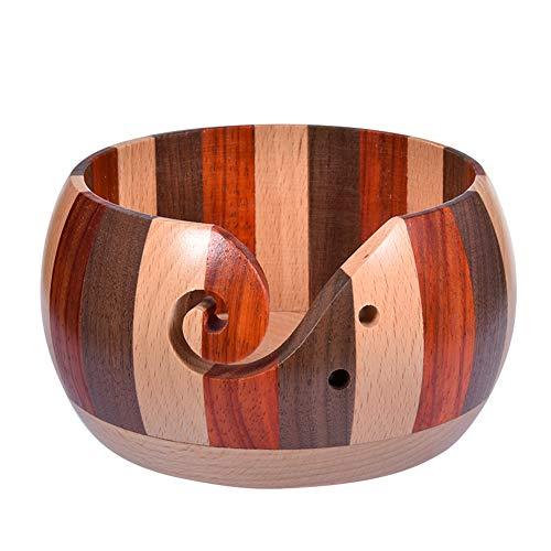 Cuenco para hilo de madera, redondo, para guardar hilo hecho a mano, con agujeros tallados para...