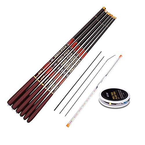 ZFFDkk Kit de cañas de Pescar telescópicas de Fibra de Carbono 3.0-7.2m caña de Pescar transmisión con Consejos de Repuesto Conjunto de Plataforma de Pesca (Color : Red, Length : 4.5M Rod Float Set)