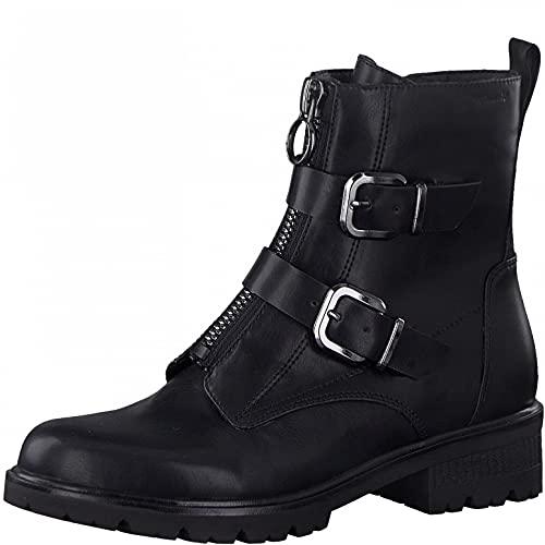 Tamaris Damen Stiefeletten, Frauen Biker Boots,TOUCHit-Fußbett,uebergangsschuhe,uebergangsstiefel,flach,Boots,Stiefel,Black MATT,40 EU / 6.5 UK