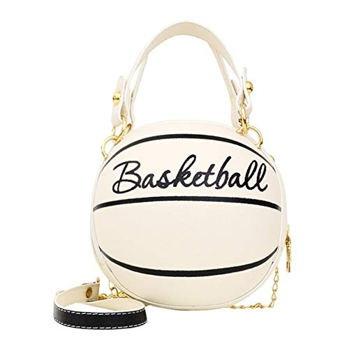 Mdsfe Personality female leather pink basketball bag 2020 new ball purses for teenagers women shoulder bags crossbody chain hand bags - Basketball white,a1