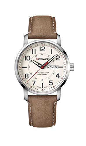 Wenger Men's Sport Stainless Steel Swiss-Quartz Watch with Leather Strap, Brown, 22 (Model: 01.1541.103)