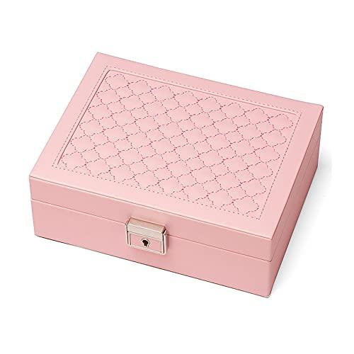 ZWL Joyeros Mujer Organizador, Portátil Caja Joyero Viaje, Caja de Joyas de Cuero, Jewelry Box para Anillos, Aretes, Pendientes, Pulseras y Collares