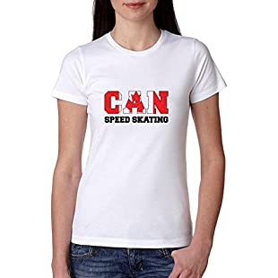 Customer reviews Canada Speed Skating - Winter Olympic - Korea - CAN Flag Women's Cotton T-Shirt:Dailyvideo