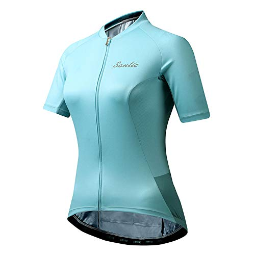 Santic Women Cycling-Jersey Short-Sleeve Bike-Jersey - Full Zip Tight Tops 2020 Summer Turquoise