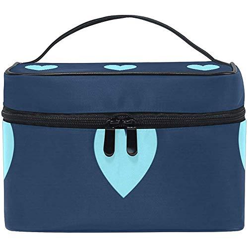 Trousse de toilette, trousse de toilette de voyage multicolore, coeur bleu clair, maquillage, voyage, organisateur, avec fermeture éclair