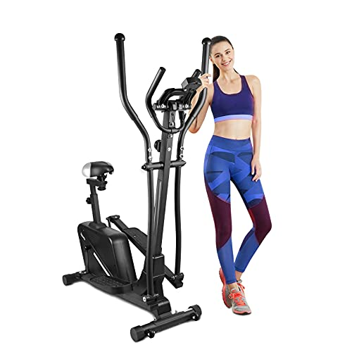 Elliptical Machine, 2 in 1 Cross Trainer Exercise Bike with Seat and Hyper-Quiet Magnetic Driving System for Home Use, 265 LB Max Weight (Black)