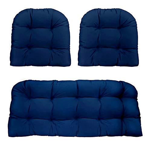 Meltset M 3Pcs Comfort Tufted Bench Seat Cushion for Indoor Outdoor, Non-Slip Loveseat Cushion Garden Furniture Back Pillow, Soft Chair Pad Set for Patio Wicker Lounge Settee - Navy