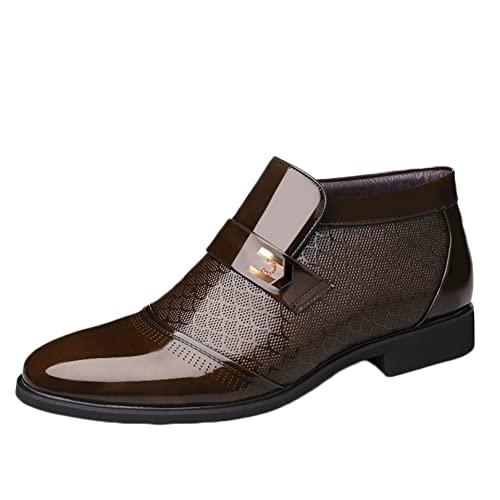 Botas cálidas de cuero de negocios para hombres, invierno, uso formal y diario, zapatos de trabajo, botas altas para exteriores, botines para hombres