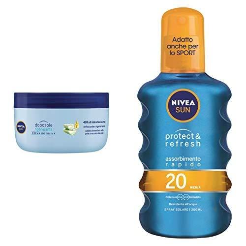 Nivea Sun Protect & Refresh Spray Solare Trasparente FP20, Protezione Media, 200 ml + Nivea Sun Crema Intensiva Doposole Rigenerante con estratto di Loto, 300 ml