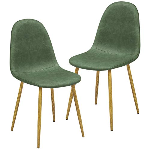 GreenForest Dining Chairs Set of 2, Modern Mid Century Faux Leather Upholstered Accent Chairs for Kitchen Living Room, with Metal Legs, Cactus